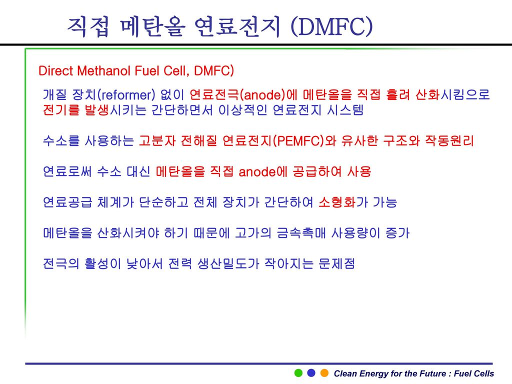직접 메탄올 연료전지 (DMFC) Direct Methanol Fuel Cell, DMFC)