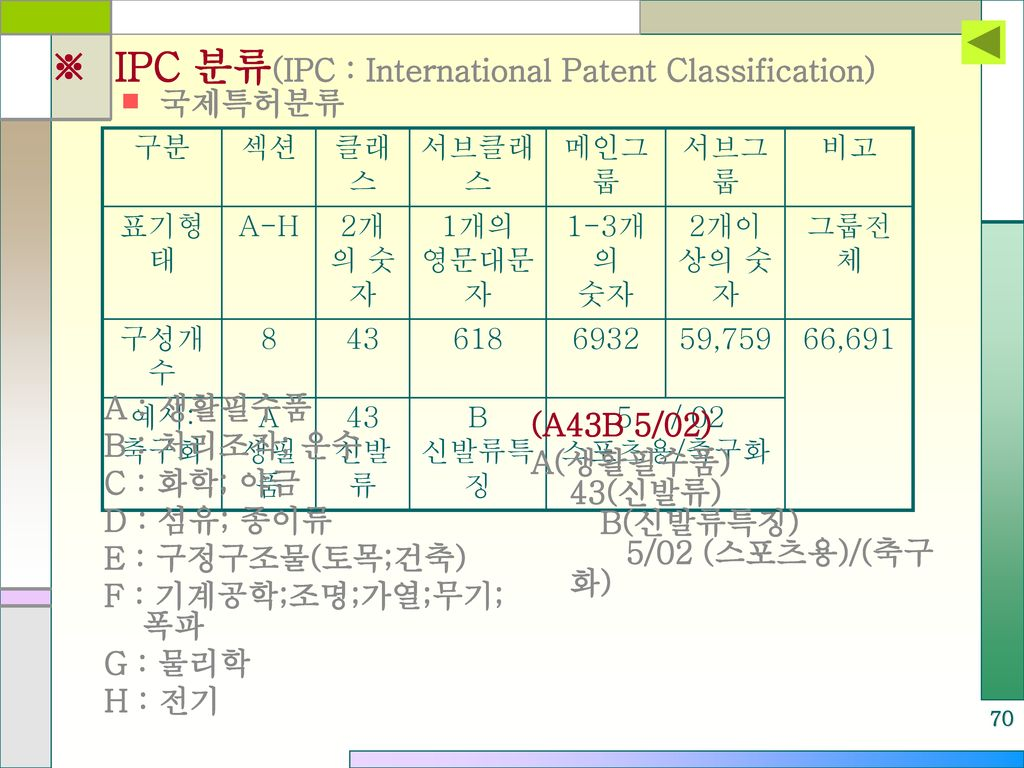 ※ IPC 분류(IPC : International Patent Classification)