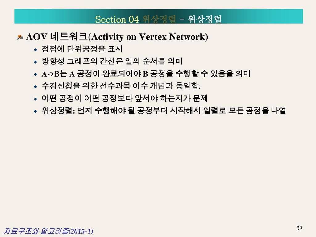 AOV 네트워크(Activity on Vertex Network)
