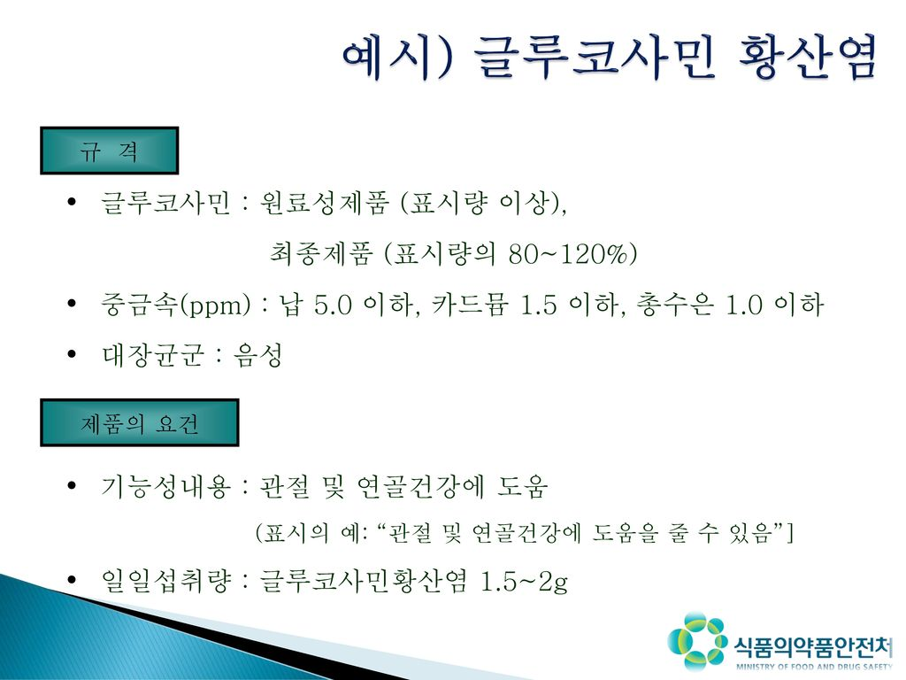 예시) 글루코사민 황산염 성상 글루코사민 : 원료성제품 (표시량 이상), 최종제품 (표시량의 80~120%)