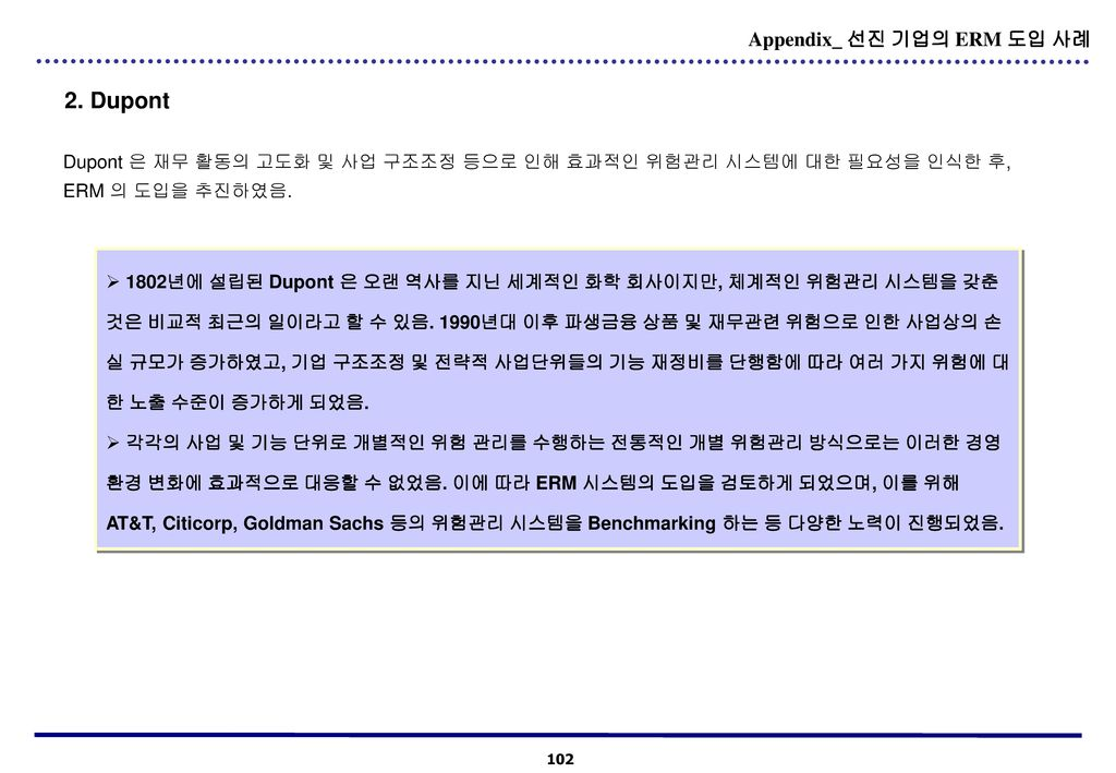 2. Dupont Appendix_ 선진 기업의 ERM 도입 사례