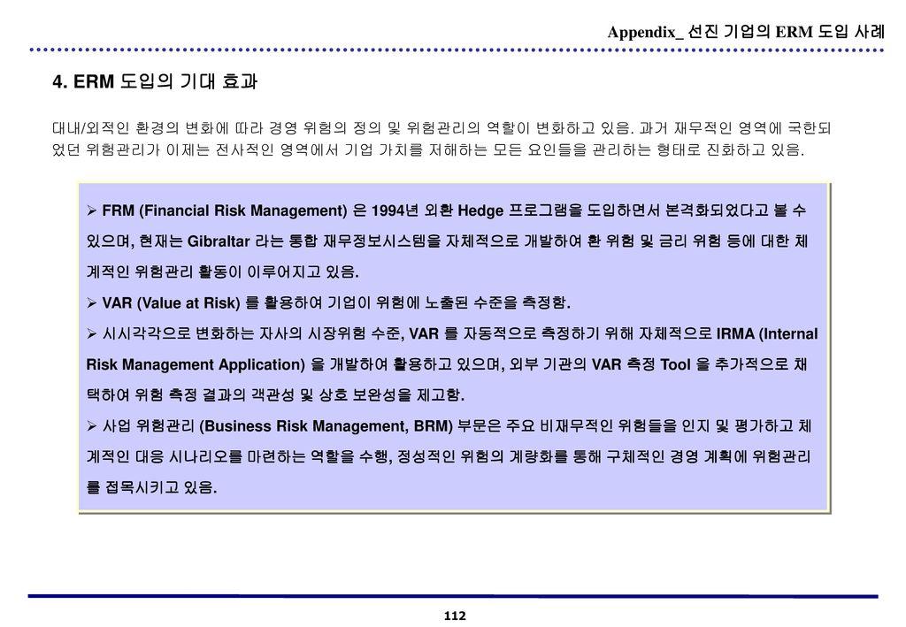 4. ERM 도입의 기대 효과 Appendix_ 선진 기업의 ERM 도입 사례