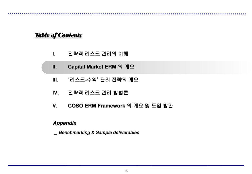 Table of Contents 전략적 리스크 관리의 이해 Capital Market ERM 의 개요