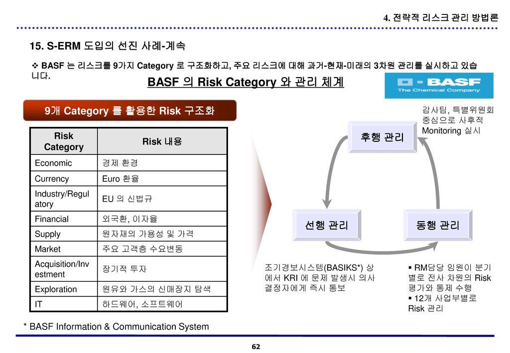 BASF 의 Risk Category 와 관리 체계 9개 Category 를 활용한 Risk 구조화