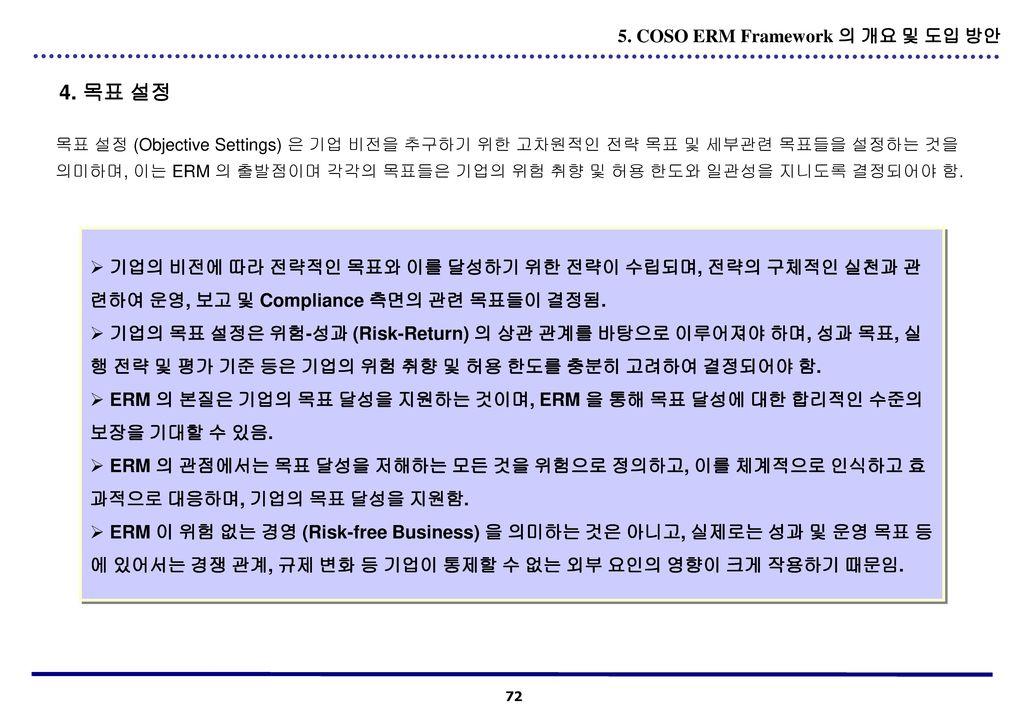 4. 목표 설정 5. COSO ERM Framework 의 개요 및 도입 방안