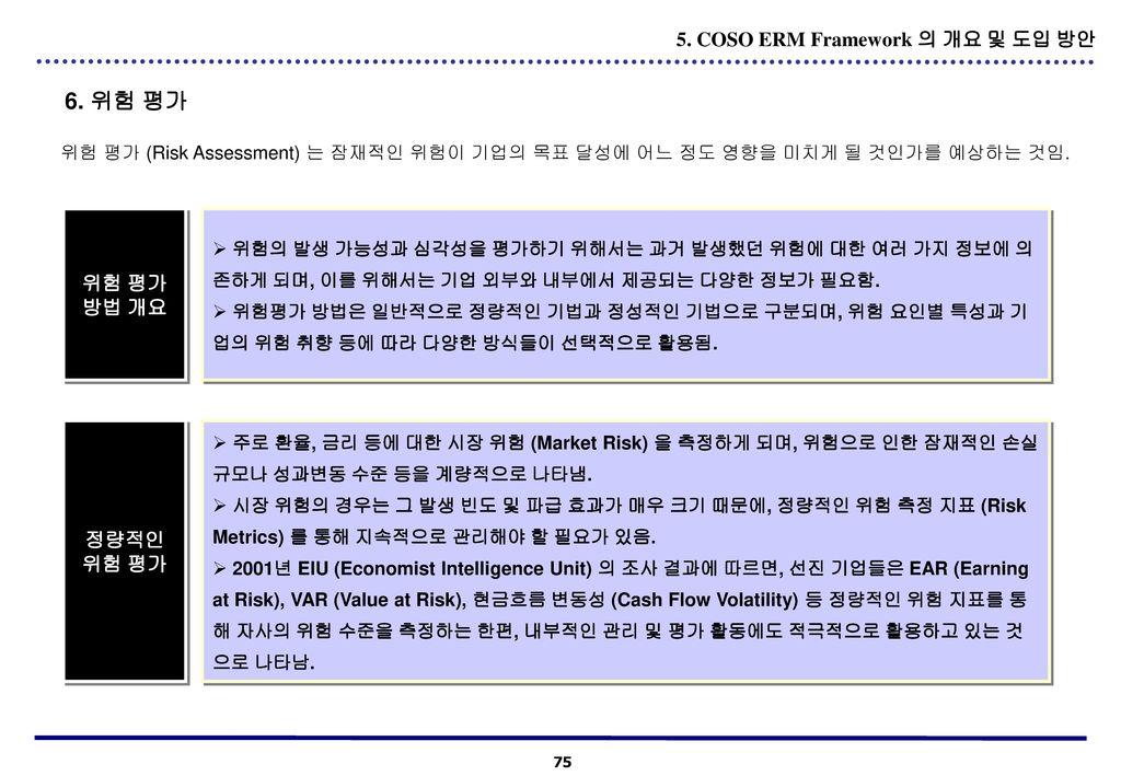 6. 위험 평가 5. COSO ERM Framework 의 개요 및 도입 방안 위험 평가 방법 개요 정량적인 위험 평가