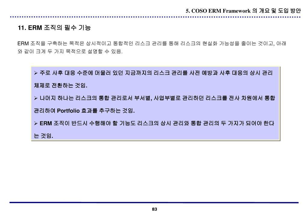 11. ERM 조직의 필수 기능 5. COSO ERM Framework 의 개요 및 도입 방안