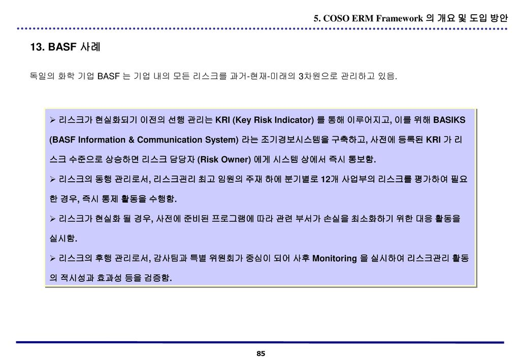 13. BASF 사례 5. COSO ERM Framework 의 개요 및 도입 방안