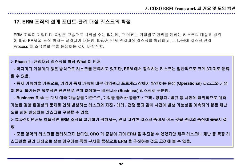 17. ERM 조직의 설계 포인트-관리 대상 리스크의 확정