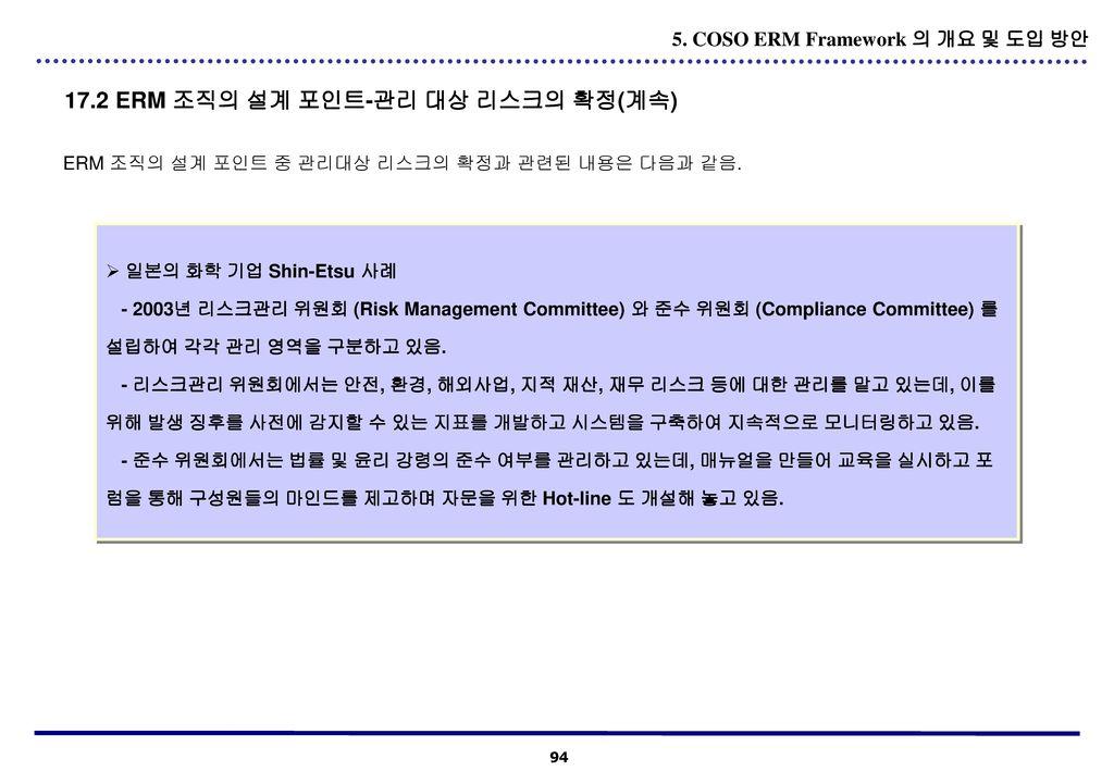 17.2 ERM 조직의 설계 포인트-관리 대상 리스크의 확정(계속)