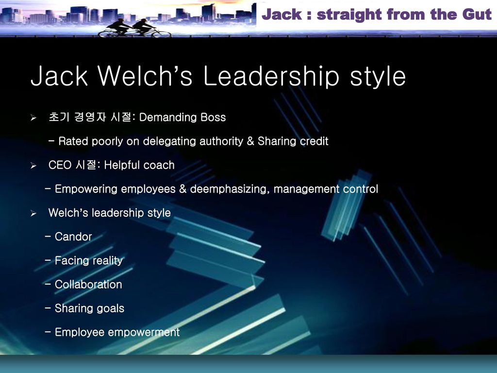 jack welch leadership style Titan jack welch is turning up her nose at a divorce settlement worth $140   italy, where she's been living much of the past year and a half.