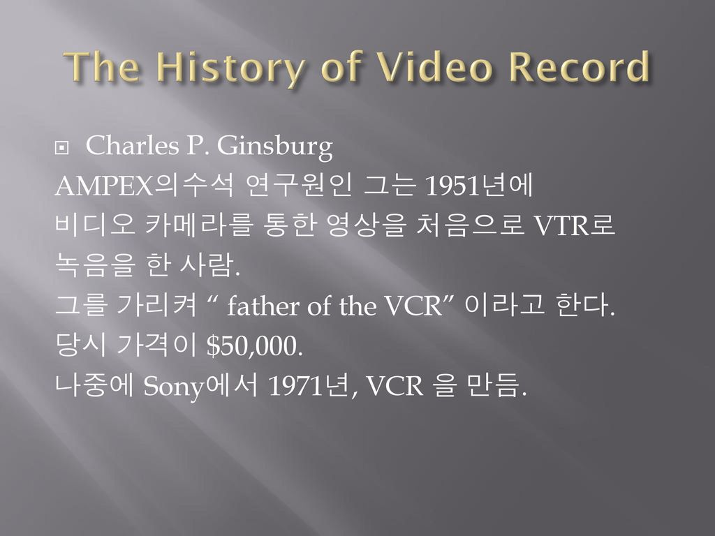 The History of Video Record