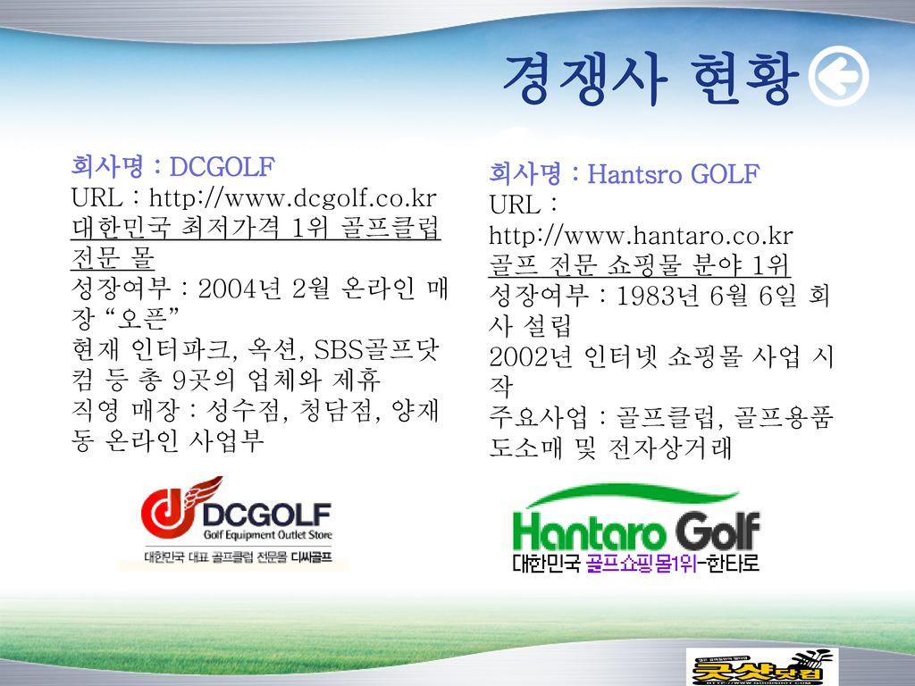 경쟁사 현황 회사명 : DCGOLF 회사명 : Hantsro GOLF URL : http://www.dcgolf.co.kr
