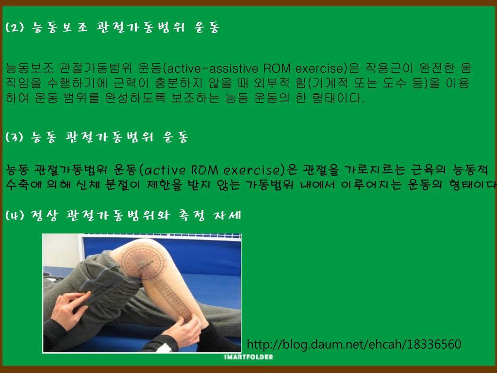 (2) 능동보조 관절가동범위 운동 (3) 능동 관절가동범위 운동 (4) 정상 관절가동범위와 측정 자세