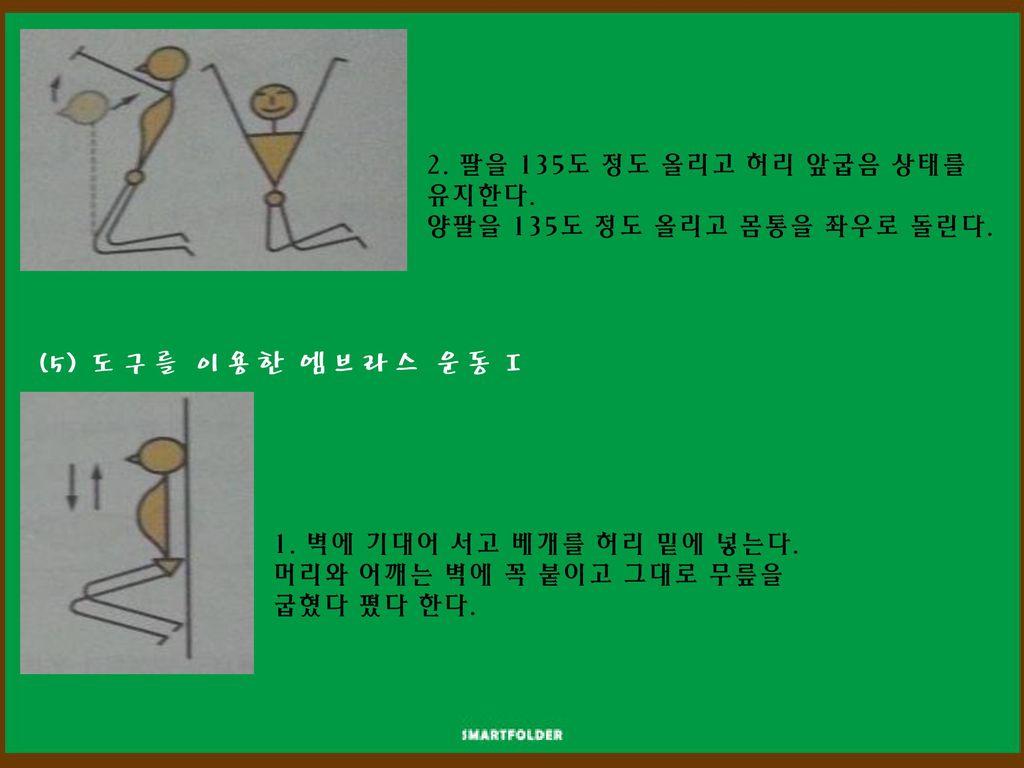 (5) 도구를 이용한 엠브라스 운동 I 2. 팔을 135도 정도 올리고 허리 앞굽음 상태를 유지한다.