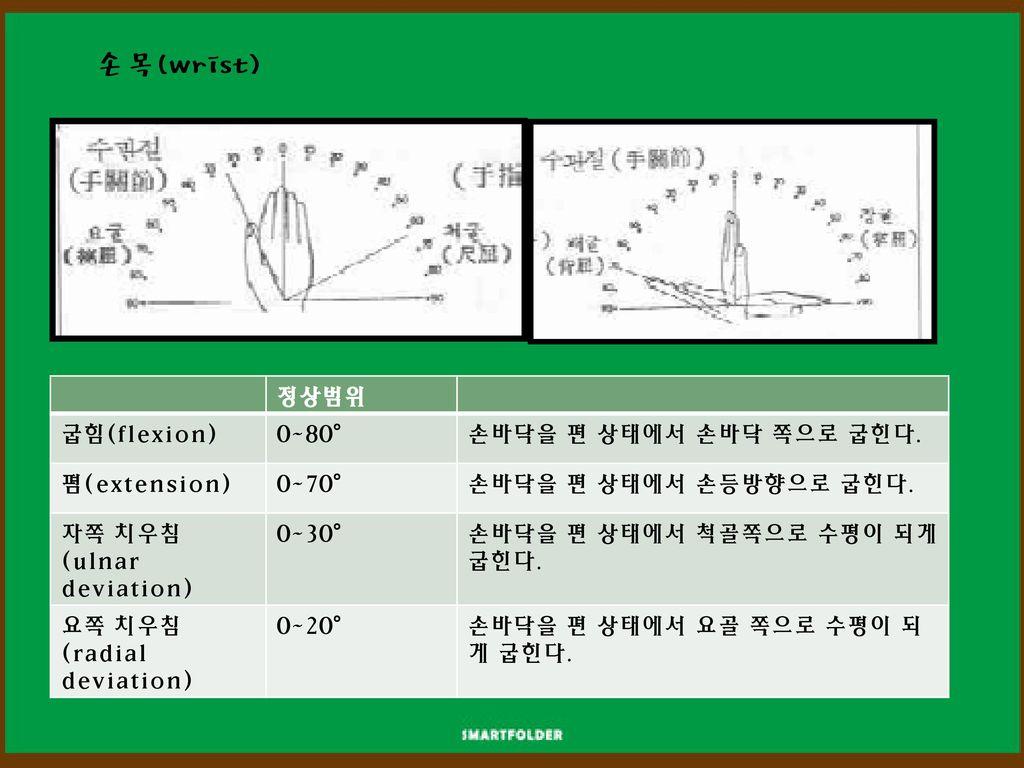 손목(wrist) 정상범위 굽힘(flexion) 0~80° 손바닥을 편 상태에서 손바닥 쪽으로 굽힌다. 폄(extension)