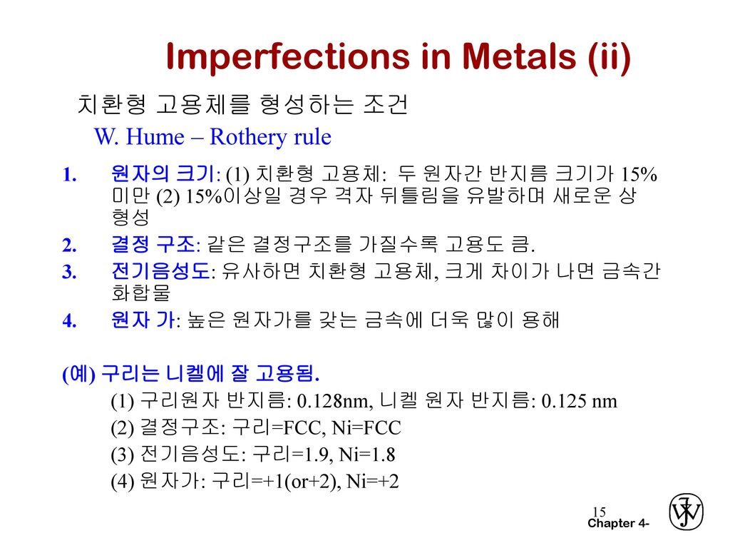 Imperfections in Metals (ii)