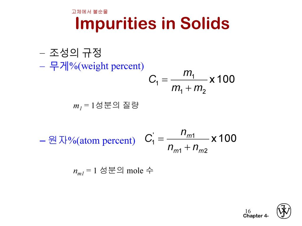 Impurities in Solids 조성의 규정 무게%(weight percent) 원자%(atom percent)