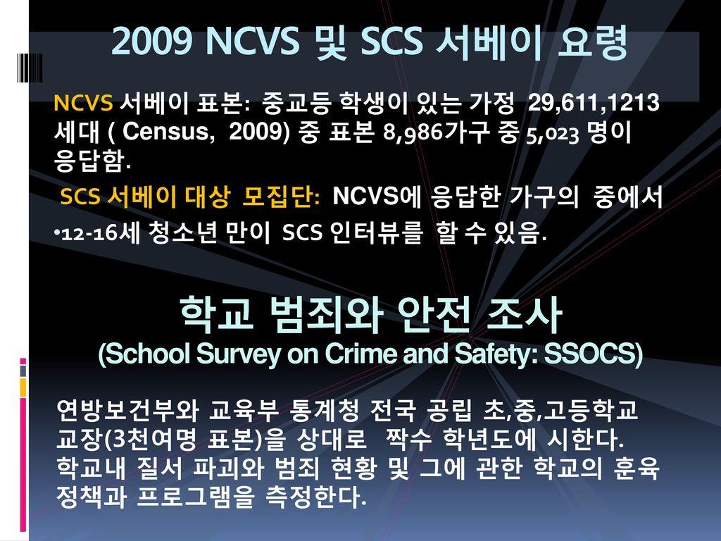 학교 범죄와 안전 조사 (School Survey on Crime and Safety: SSOCS)