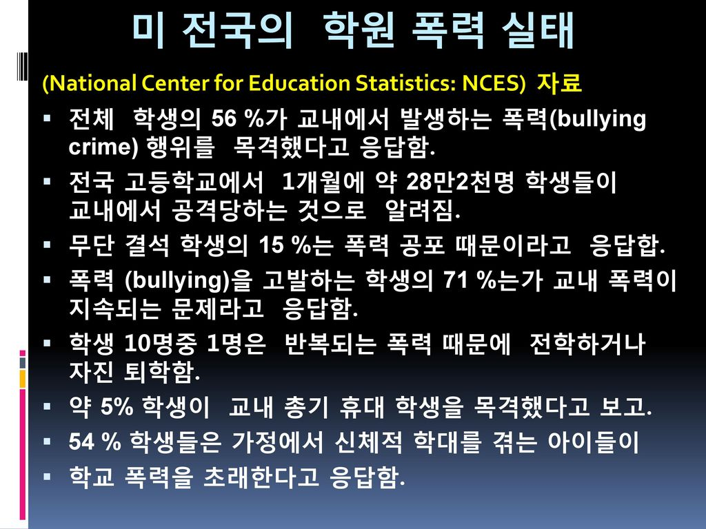 미 전국의 학원 폭력 실태 (National Center for Education Statistics: NCES) 자료