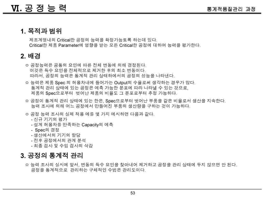 Ⅵ. 공 정 능 력 1. 목적과 범위 2. 배경 3. 공정의 통계적 관리
