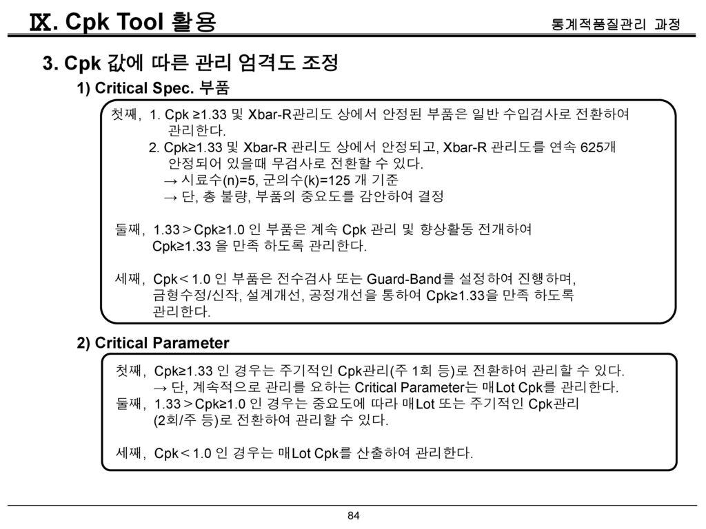 Ⅸ. Cpk Tool 활용 3. Cpk 값에 따른 관리 엄격도 조정 1) Critical Spec. 부품