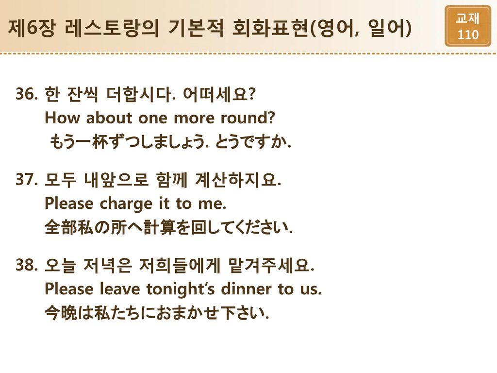 제6장 레스토랑의 기본적 회화표현(영어, 일어)