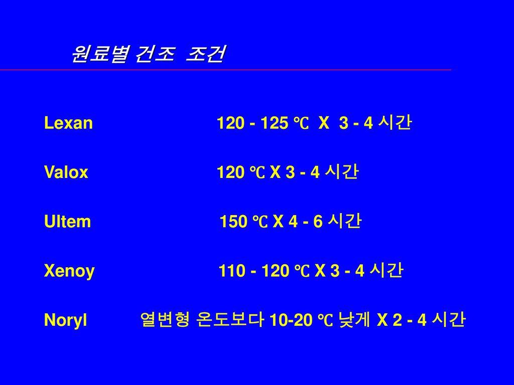 원료별 건조 조건 Lexan 120 - 125 ℃ X 3 - 4 시간 Valox 120 ℃ X 3 - 4 시간