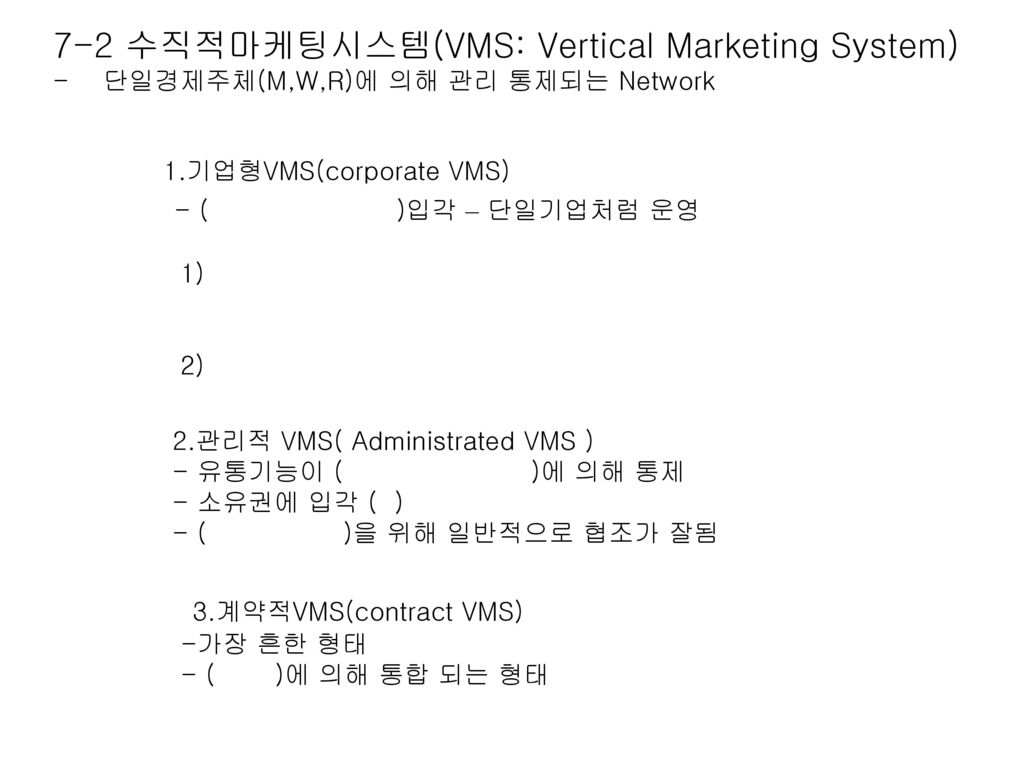 7-2 수직적마케팅시스템(VMS: Vertical Marketing System)