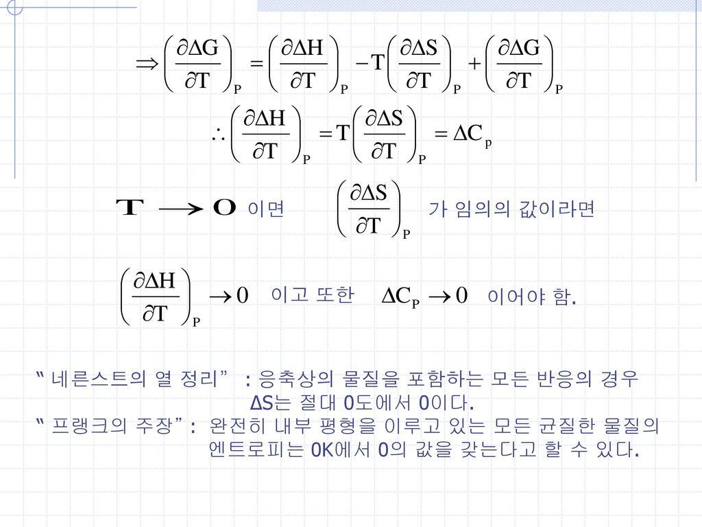 이면 가 임의의 값이라면. 이고 또한. 이어야 함. 네른스트의 열 정리 : 응축상의 물질을 포함하는 모든 반응의 경우. ΔS는 절대 0도에서 0이다. 프랭크의 주장 : 완전히 내부 평형을 이루고 있는 모든 균질한 물질의.