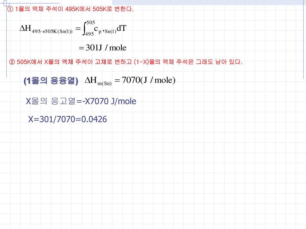 (1몰의 용융열) X몰의 응고열=-X7070 J/mole X=301/7070=0.0426