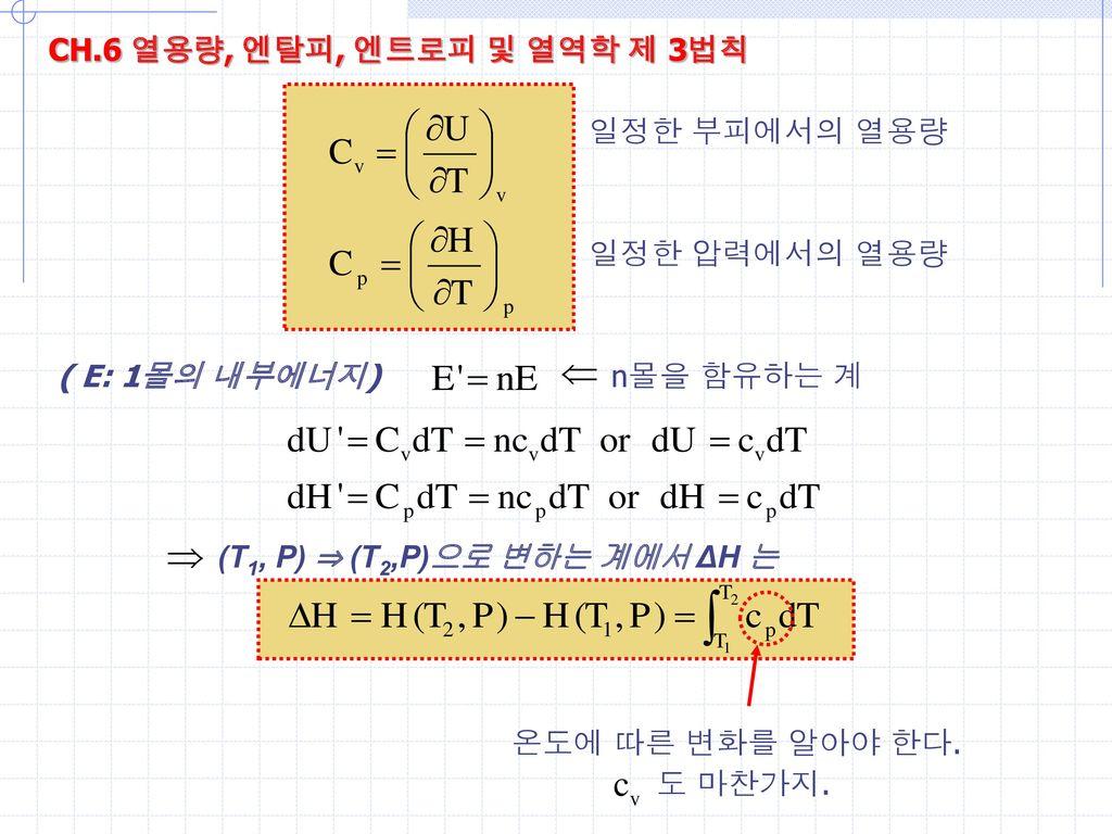 CH.6 열용량, 엔탈피, 엔트로피 및 열역학 제 3법칙 일정한 부피에서의 열용량. 일정한 압력에서의 열용량. ( E: 1몰의 내부에너지) n몰을 함유하는 계.