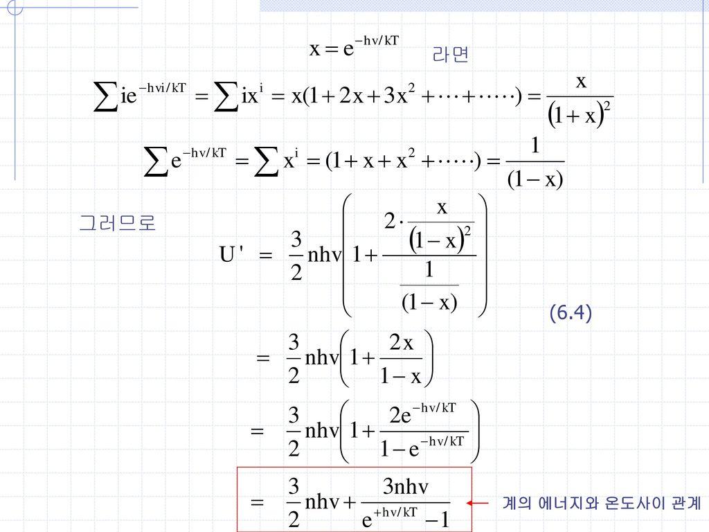 라면 그러므로 (6.4) 계의 에너지와 온도사이 관계