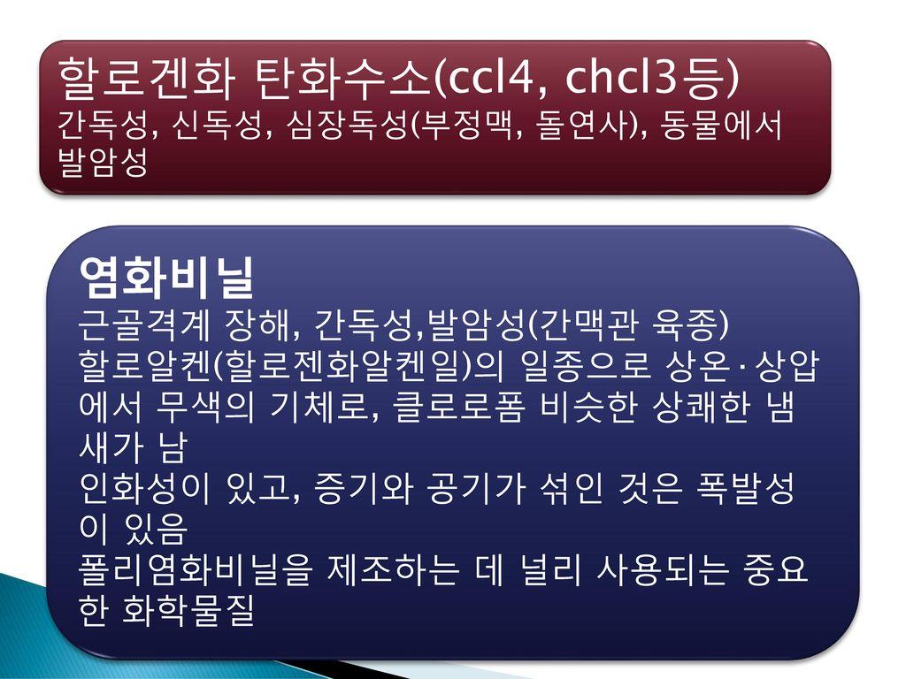 할로겐화 탄화수소(ccl4, chcl3등) 염화비닐 근골격계 장해, 간독성,발암성(간맥관 육종)