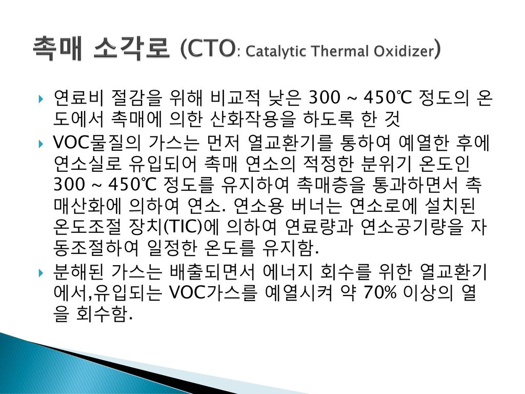 촉매 소각로 (CTO: Catalytic Thermal Oxidizer)