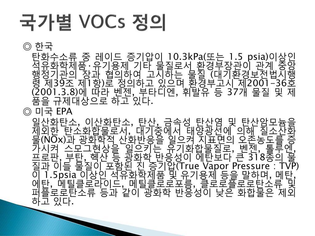 국가별 VOCs 정의 ◎ 한국.
