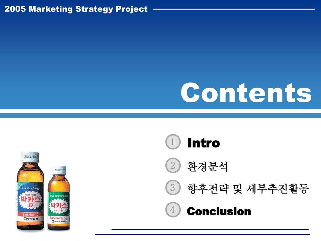 Contents Intro 환경분석 향후전략 및 세부추진활동 Conclusion 1 2 3 4