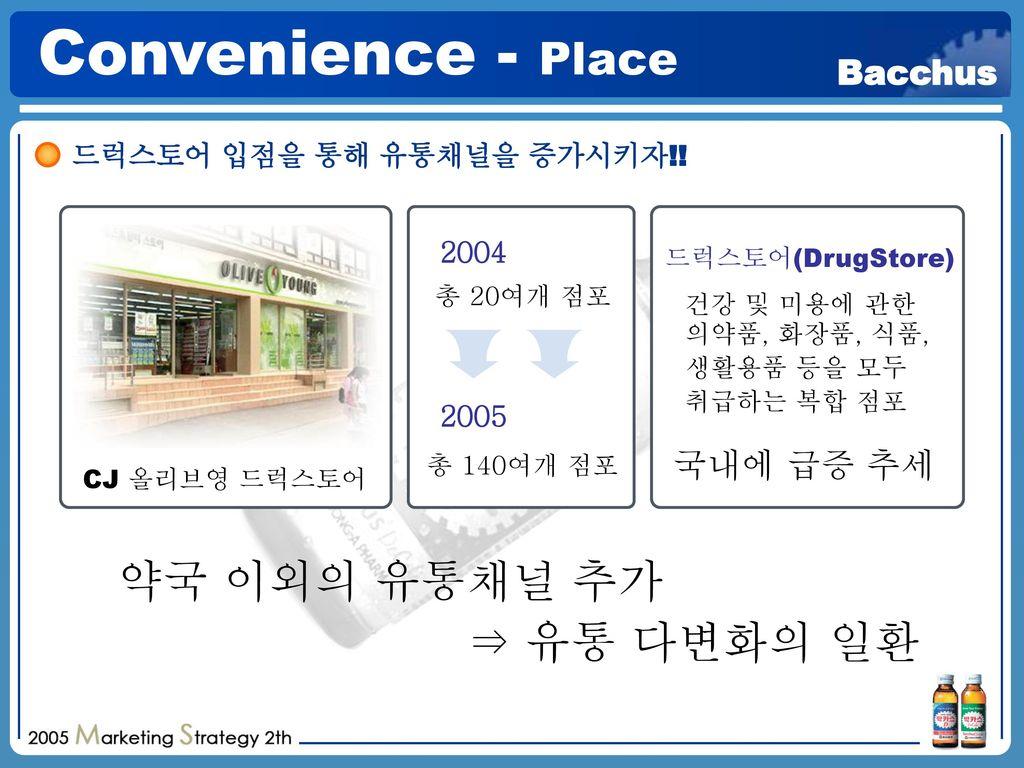 Convenience - Place 약국 이외의 유통채널 추가 ⇒ 유통 다변화의 일환 국내에 급증 추세