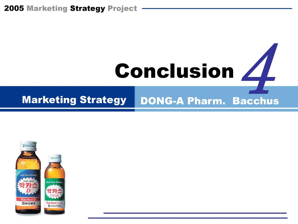 4 Conclusion Marketing Strategy DONG-A Pharm. Bacchus Coke에 대해 모른다!