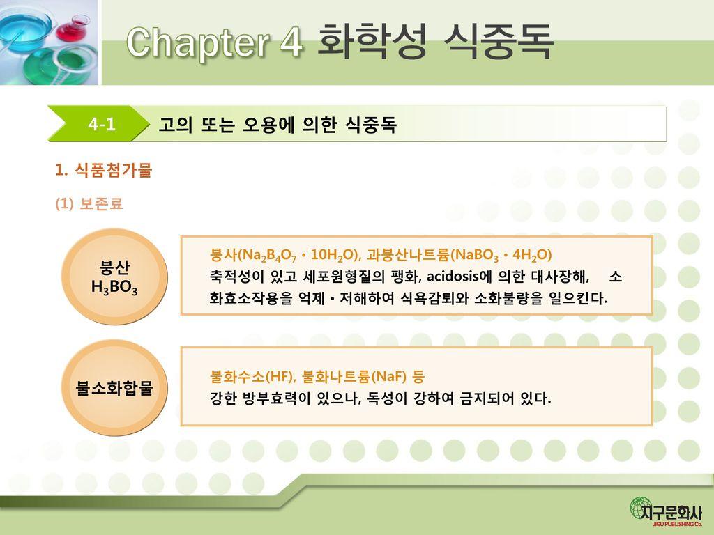 고의 또는 오용에 의한 식중독 4-1 1. 식품첨가물 붕산 H3BO3 불소화합물 (1) 보존료