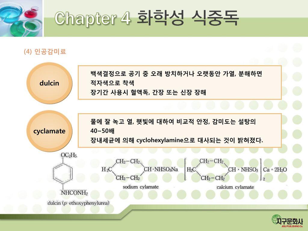 dulcin cyclamate (4) 인공감미료 백색결정으로 공기 중 오래 방치하거나 오랫동안 가열, 분해하면 적자색으로 착색