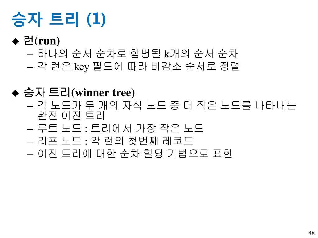승자 트리 (1) 런(run) 승자 트리(winner tree) 하나의 순서 순차로 합병될 k개의 순서 순차