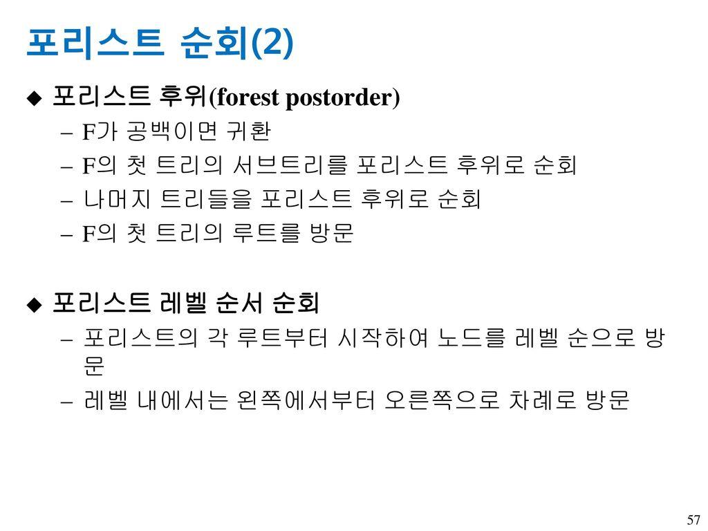 포리스트 순회(2) 포리스트 후위(forest postorder) 포리스트 레벨 순서 순회 F가 공백이면 귀환