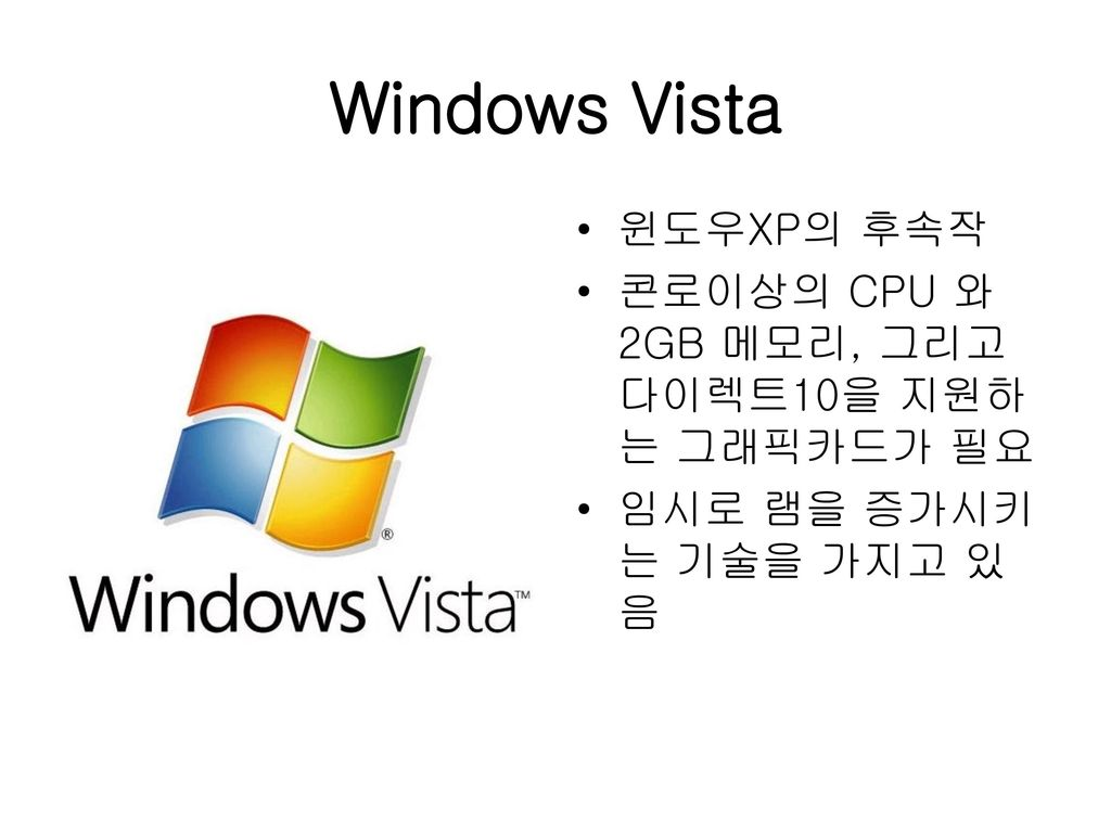 Windows Vista 윈도우XP의 후속작
