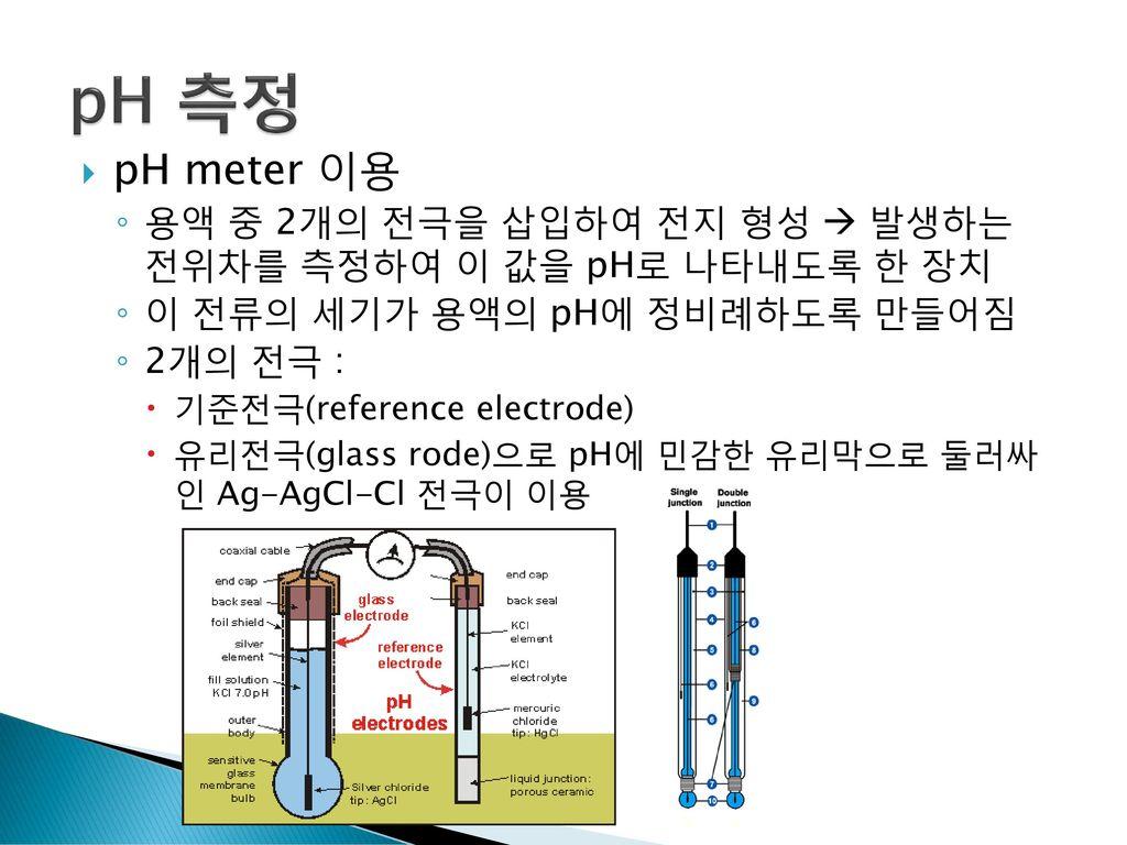 pH 측정 pH meter 이용. 용액 중 2개의 전극을 삽입하여 전지 형성  발생하는 전위차를 측정하여 이 값을 pH로 나타내도록 한 장치. 이 전류의 세기가 용액의 pH에 정비례하도록 만들어짐.