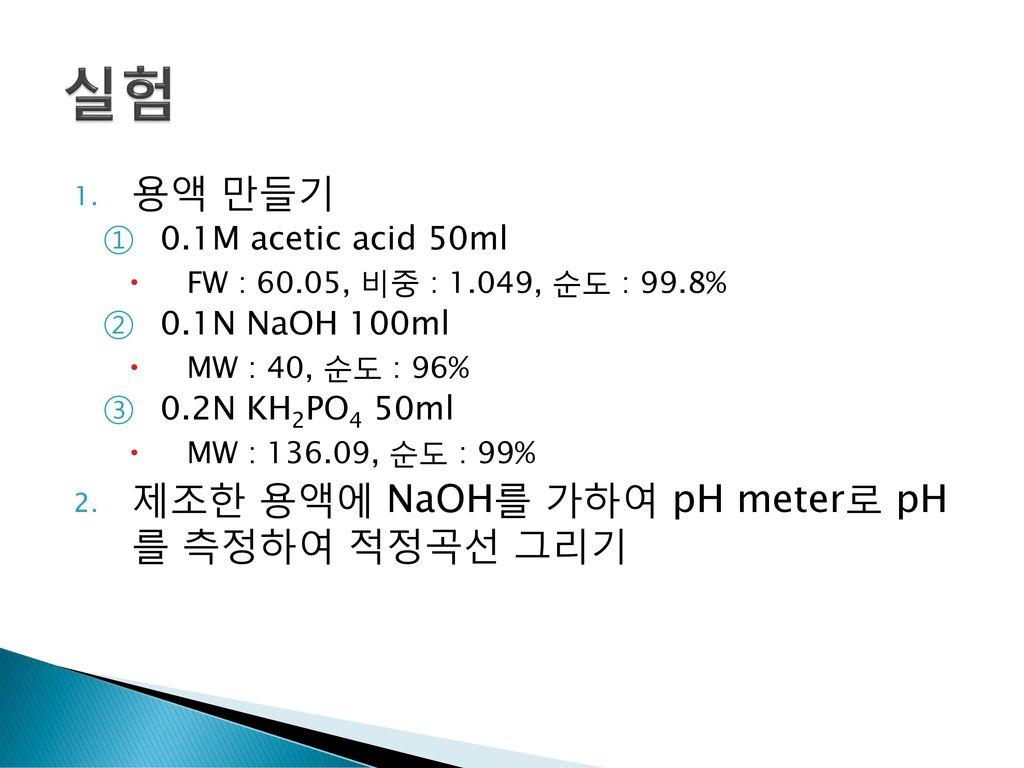 실험 용액 만들기 제조한 용액에 NaOH를 가하여 pH meter로 pH 를 측정하여 적정곡선 그리기