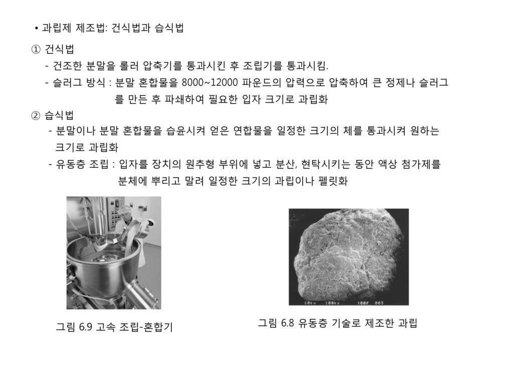 • 과립제 제조법: 건식법과 습식법