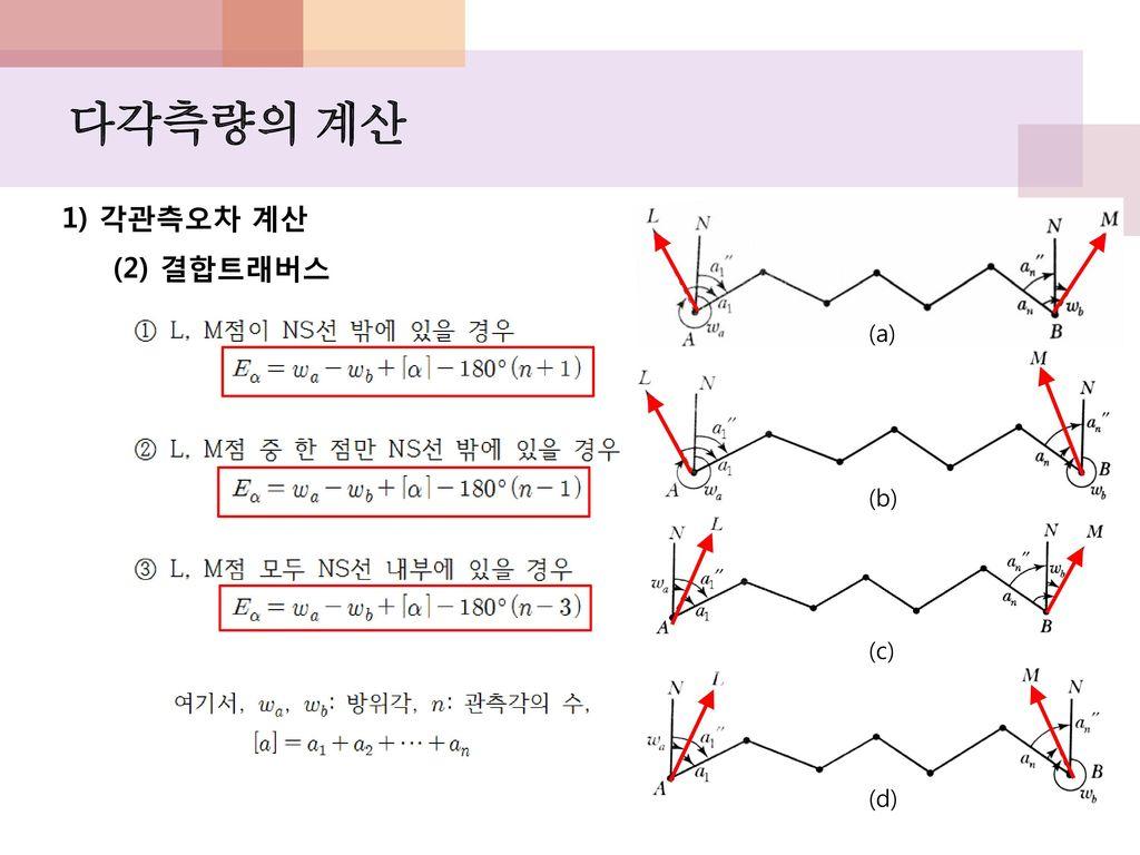 다각측량의 계산 1) 각관측오차 계산 (2) 결합트래버스 (a) (b) (c) (d)
