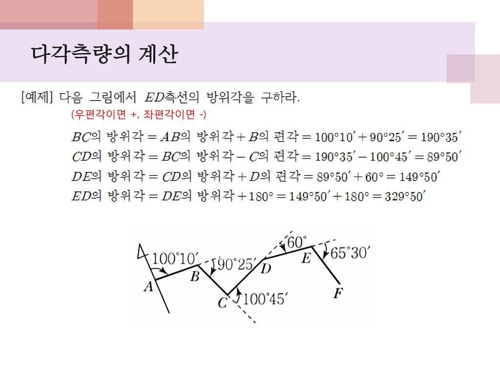 다각측량의 계산 (우편각이면 +, 좌편각이면 -)