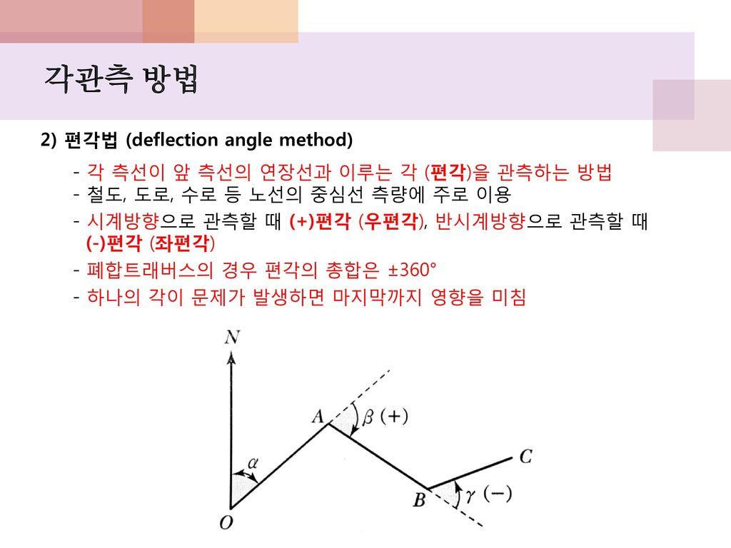 각관측 방법 2) 편각법 (deflection angle method)